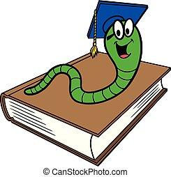 A cartoon illustration of a Bookworm and a Book.