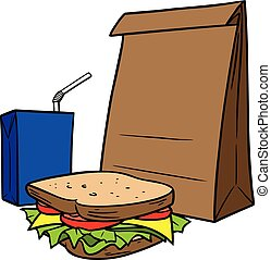 Brown Bag Lunch - A cartoon illustration of a Brown Bag ...