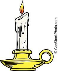 Candlestick Holder - A cartoon illustration of a Candlestick...