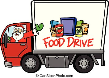 A cartoon illustration of a Christmas Food Drive concept.