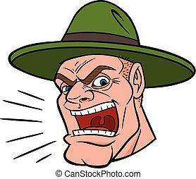 Drill Sergeant - A cartoon illustration of a Drill Sergeant.
