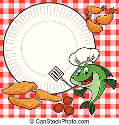 Fish Cookout - A cartoon illustration of a Fish Cookout ...