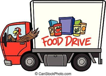 A cartoon illustration of a Food Drive Concept.