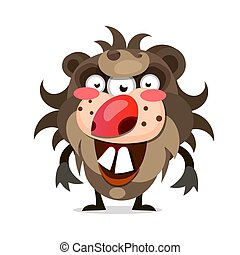 cartoon illustration of a hairy monster with a big mouth of sharp teeth.