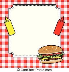 Hamburger Cookout Invite - A cartoon illustration of a ...