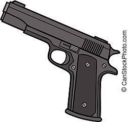 A cartoon illustration of a Handgun.