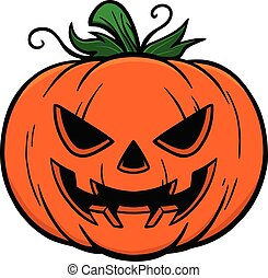 A cartoon illustration of a Jack-O-Lantern.