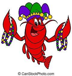 A cartoon illustration of a Mardi Gras Crawfish.