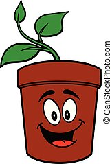 Potted Plant Mascot - A cartoon illustration of a Potted ...