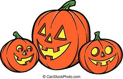 A cartoon illustration of a Pumpkin Trio.