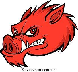 Razorback Mascot - A cartoon illustration of a Razorback ...