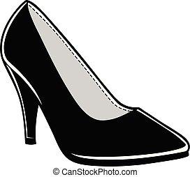 Women's Dress Shoe - A cartoon illustration of a Women's ...