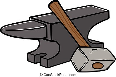 Anvil and Sledgehammer - A cartoon illustration of an Anvil...