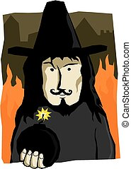 Guy Fawkes - A cartoon illustration of Guy Fawkes holding a...