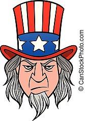 A cartoon illustration of Uncle Sam.