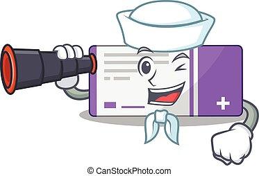 A cartoon image design of medicine box Sailor with binocular...