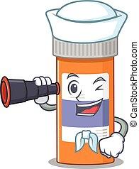 A cartoon image design of pills drug bottle Sailor with ...