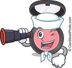 A cartoon image design of pink blusher Sailor with binocular...