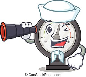 A cartoon image design of pressure gauge Sailor with ...