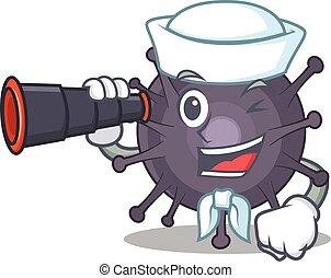 A cartoon image design of salmonella Sailor with binocular. ...