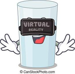 A cartoon image of glass of water using modern Virtual Reality headset