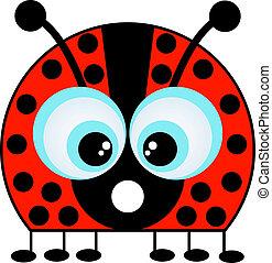 A Cartoon Ladybug Isolated on White