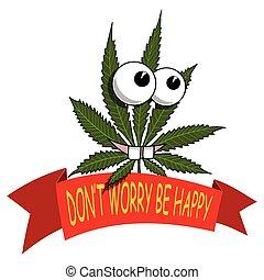 A cartoon marijuana smiling