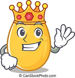 A cartoon mascot design of golden egg performed as a King on the stage