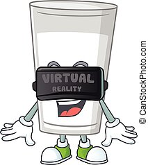 A cartoon mascot of glass of milk enjoying game with Virtual reality headset