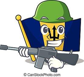 A cartoon of flag barbados Army with machine gun