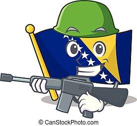 A cartoon of flag bosnia Army with machine gun