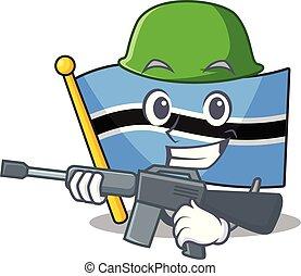 A cartoon of flag botswana army with machine gun.