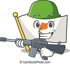 A cartoon of flag cyprus Army with machine gun