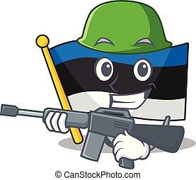 A cartoon of flag estonia Army with machine gun