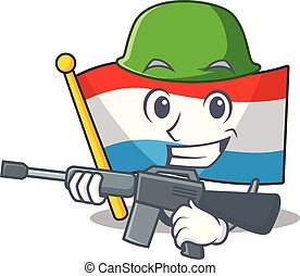 A cartoon of flag luxembourg Army with machine gun