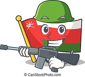 A cartoon of flag oman Army with machine gun