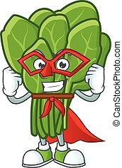 A cartoon of spinach with Super hero costume