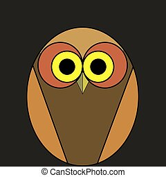 cartoon owl of brown color on a black background