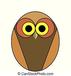 cartoon owl of brown color on a white background
