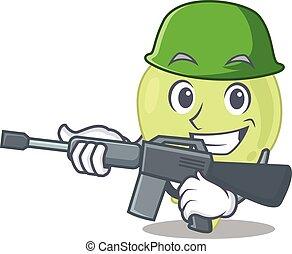 A cartoon picture of Army lymph node holding machine gun