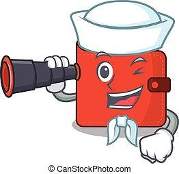 A cartoon picture of card wallet Sailor using binocular. ...