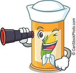 A cartoon picture of corn tin Sailor using binocular. Vector...