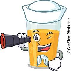 A cartoon picture of glass of orange juice Sailor using ...