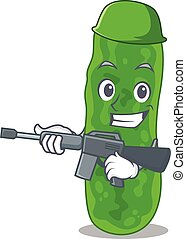 A cartoon picture of legionella micdadei in Army style with ...