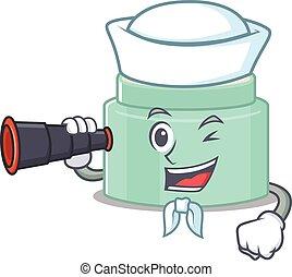 A cartoon picture of lipbalm Sailor using binocular. Vector ...