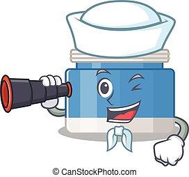 A cartoon picture of moisturizer cream Sailor using ...