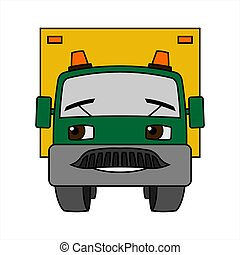 A Cartoon Smiling Car With Flashing Lights. Cartoon Little Truck. Contour Vector Illustration On White Background. Funny Character For Children. The Car Is Dad.