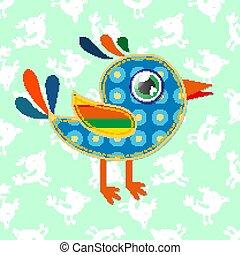 a cartoon sparrow with colorful textures. Vector