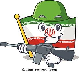 A cartoon style of flag iran Army with machine gun