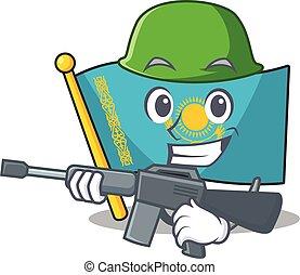 A cartoon style of flag kazakhstan Army with machine gun